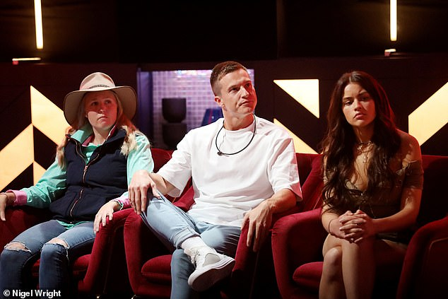 Not safe: His vote was not immediately revealed, resulting in a short cliffhanger as Max, as well as two other possible evictees - Melissa McGorman (far left) and Christina Podolyan (far right) - awaited their fate