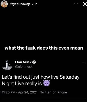 Bowen Yang posted Musk's tweet on Stories with the response 'what the f*** does this even mean' after Musk tweeted: 'Let's find out how live Saturday Night Live really is'