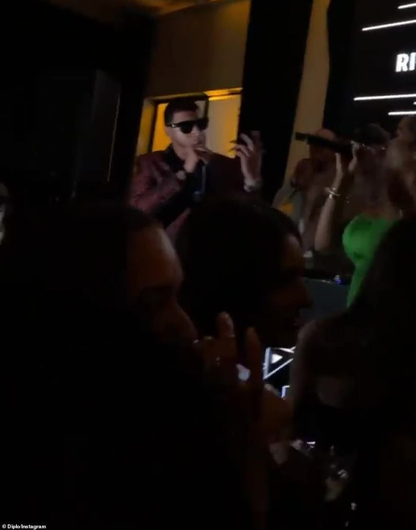 Having fun: The DJ shared a few videos that were taken during the celebratory function to his Instagram Story