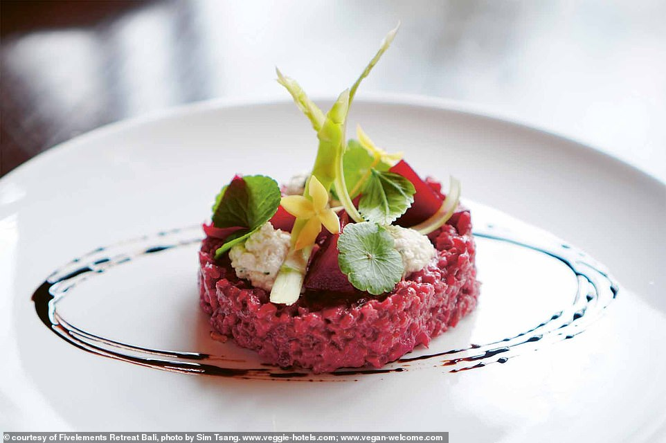 Pictured is one of the vegetarian dishes available atFivelements Retreat in Bali. The book reveals: 'Many of the dishes served in the prize-winning Sakti Dining Room are made from vital raw foods, which are especially nutritious and filled with healing power (shakti)'
