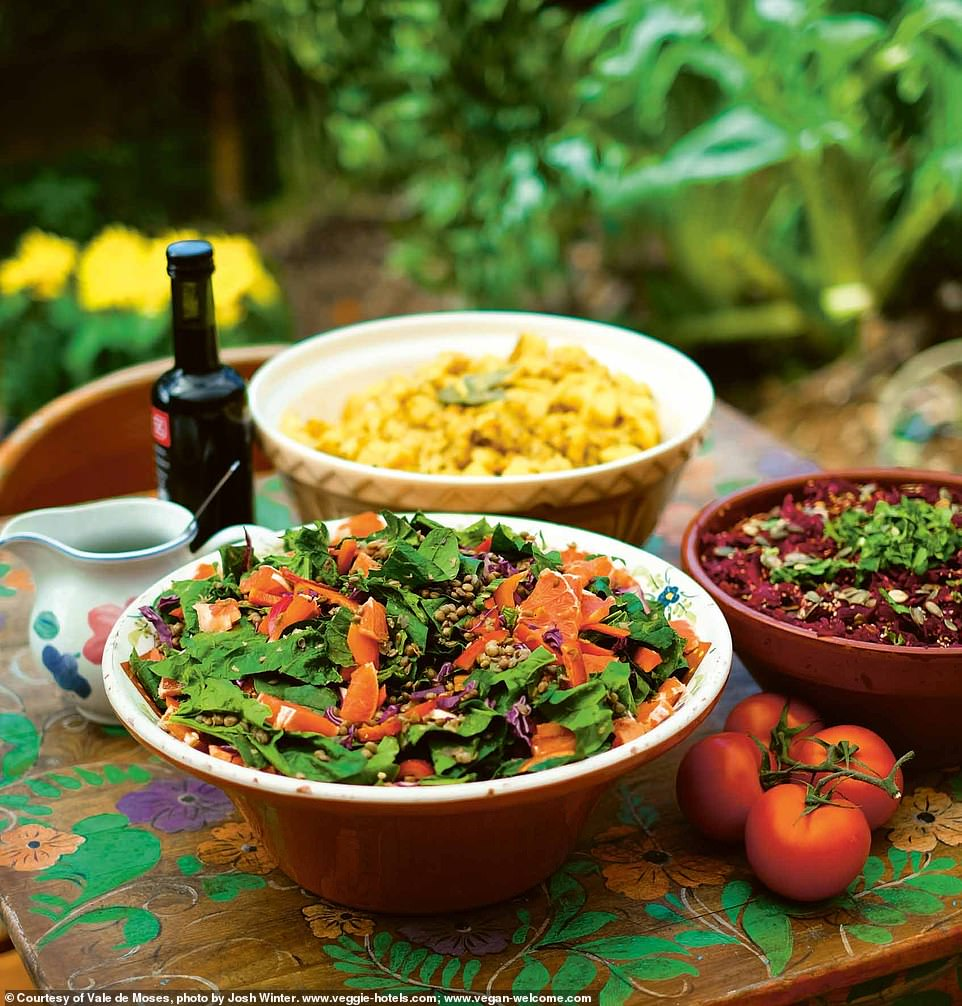 The Vale de Moses is located 'deep in the Portuguese mountains, scattered with olive and madrone trees, vibrant green fields, rugged mountain slopes, and gentle streams that wind through the valley'. Pictured is the lunch spread
