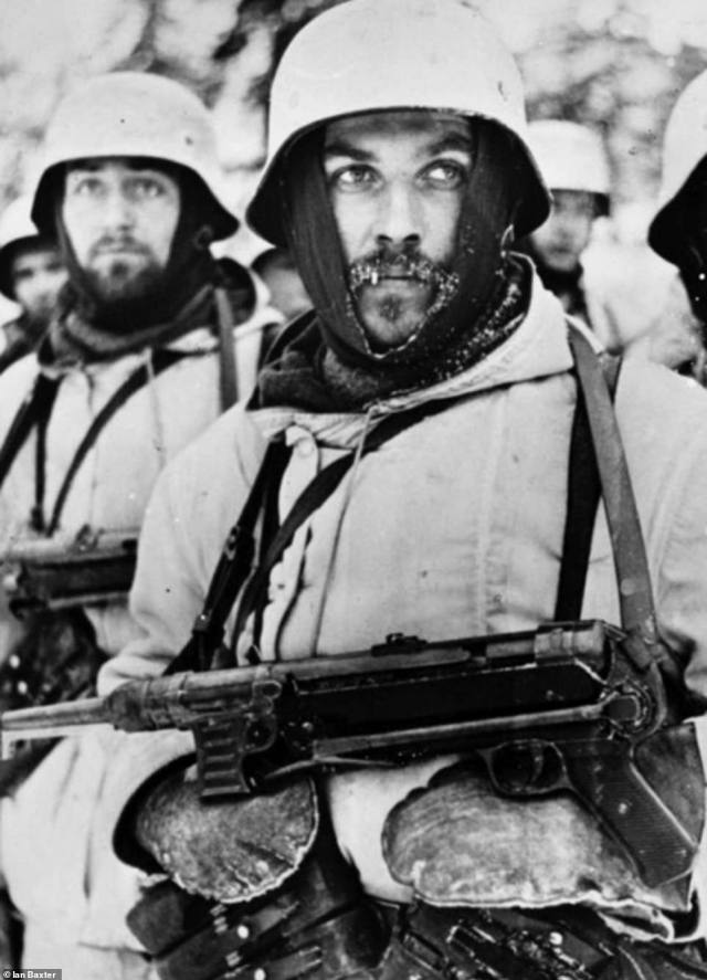 A troop leader is seen dressed in his winter uniform, whitewashed steel helmet and gloves. His machine gun hangs around his neck. Unlike in 1941 and 1942, the Germans were firmly on the back foot in 1943. They were slowly beaten back over what was a hostile landscape. To make things worse, they were short on supplies and outnumbered by Soviet forces