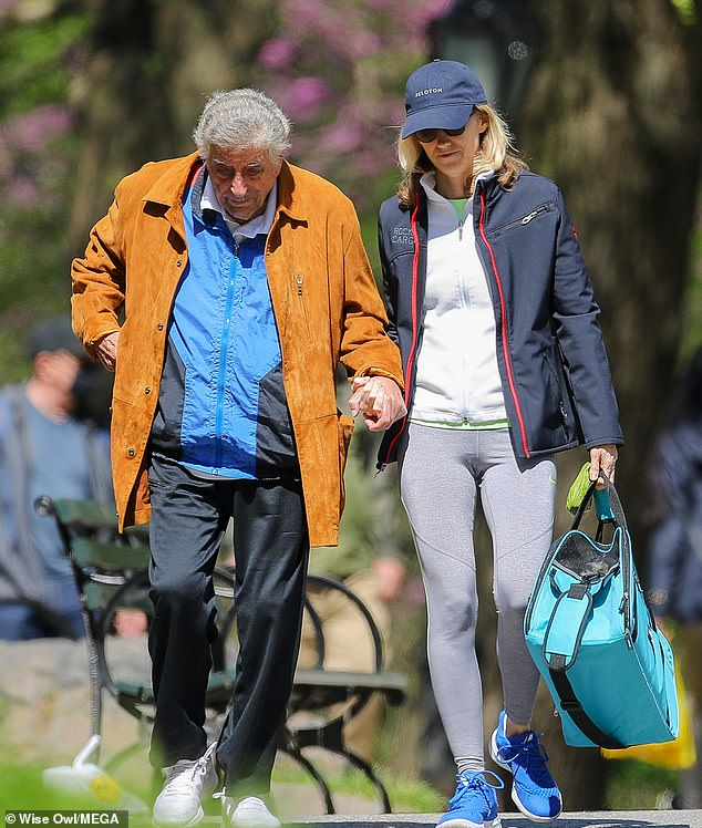 Singer Tony Bennett, who in February revealed his Alzheimer's disease diagnosis, is seen taking a walk with wife Susan through Central Park, New York over the weekend