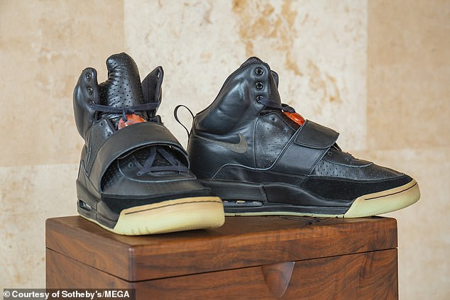 Pictured: A pair of Kanye West prototype sneakers that sold for $1.8 million yesterday