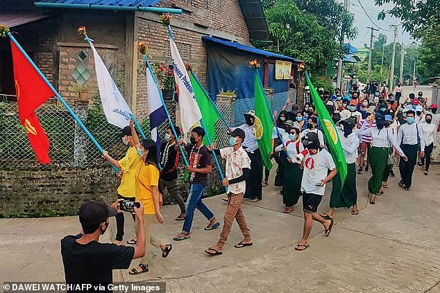 Protesters march against the military coup in Dawei, a city in southeastern Myanmar, on Tuesday