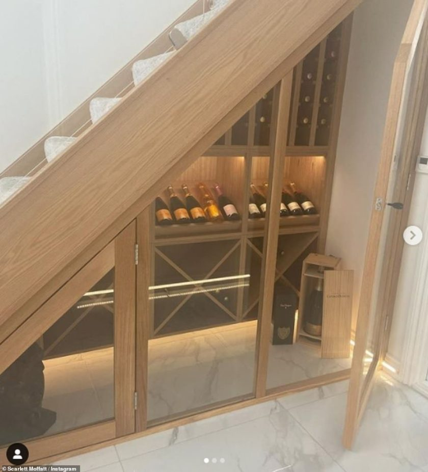 Wow!Scarlett Moffatt has revealed her luxurious champagne 'cellar' - complete with hundreds of pounds worth of alcohol - at her newly renovated 'dream' home in County Durham