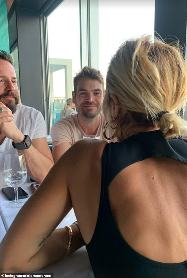 Out and about: Pip featured on Cameron's Instagram Story last week as the pair enjoyed a meal with friends at the Bondi Icebergs restaurant. He took this photo of Pip from behind, but she was identifiable because of a distinguishing tattoo on her arm