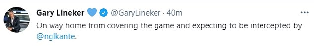 Gary Lineker also took to Twitter to praise the French World Cup-winning midfielder