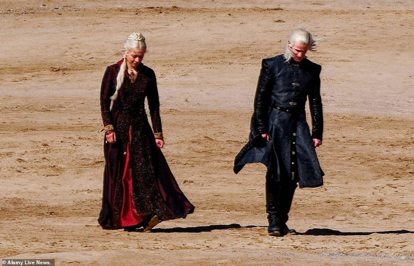 In character: Both the actor, 38, and actress, 28, sported platinum blonde locks as they walked along Holywell Bay beach