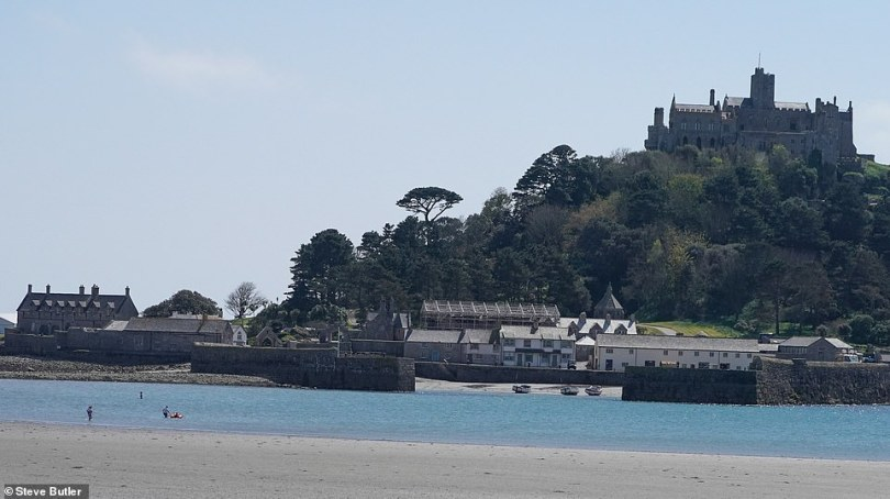 Great spot: The castle atSt Michaels Mount in Marazion Bay appears to be a key spot for the production