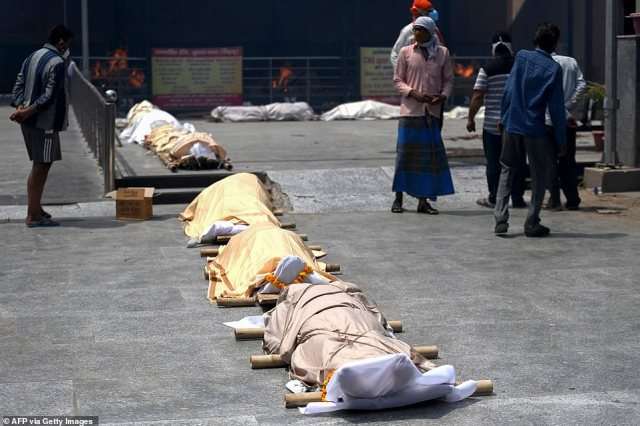 Hindu tradition stipulates that bodies should be burned within 24 hours of death, meaning crematoriums are now working overtime to deal with the wave of fatalities caused by Covid