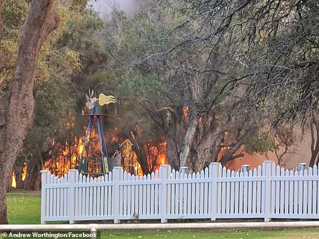 A fire was burning out of control north of Perth near Gingin on Wednesday afternoon