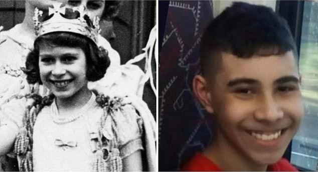 Simon Dorante-Day has shared a new photo comparison of his 14-year-old son Liam and a young Queen Elizabeth (pictured)