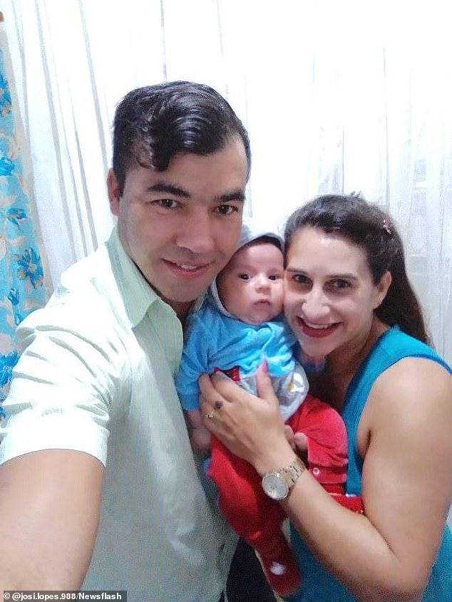 Luiz Edivaldo de Souza (izquierda) presuntamente mató a su esposa y su bebé (derecha y centro) al poner veneno para ratas en su comida.