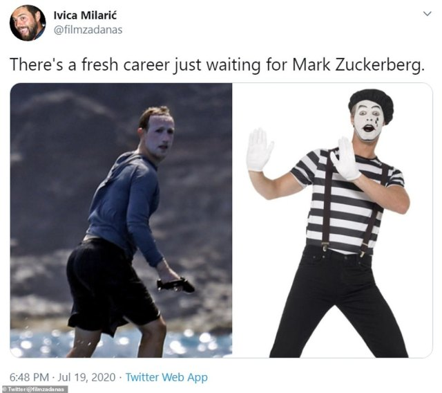 At the time the images were taken Zuckerberg was compared online to The Joker, Mrs Doubtfire, the moon and a lizard