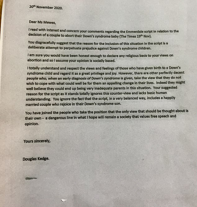 Pictured: A photograph of the letter retired teacher Douglas Kedge sent to Rachel Mewes
