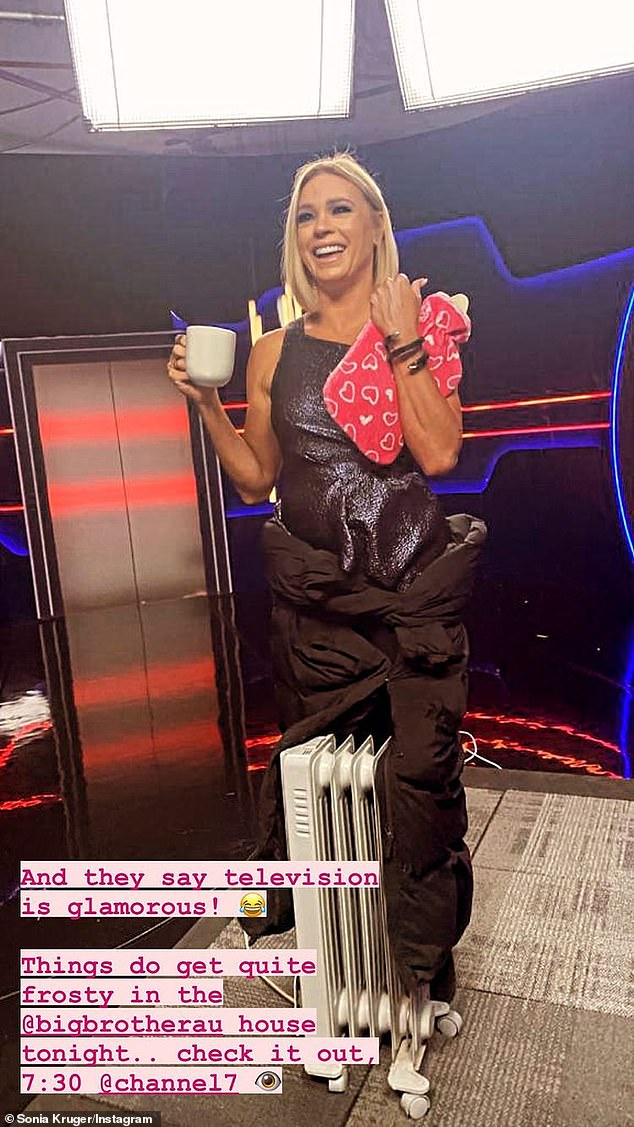 Freezing!On Wednesday, Sonia showed the grim reality of hosting Seven's popular show in a behind-the-scenes photo. She was forced to hold a hot water bottle, a cup of tea and straddle a heater with a sleeping bag wrapped around her legs due to the cold