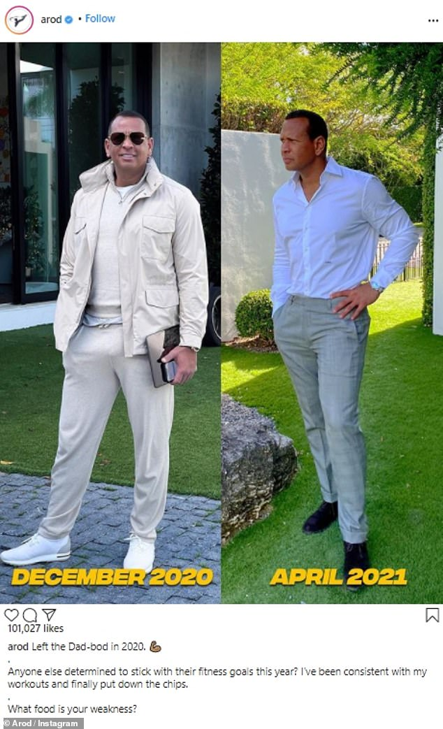 Looking good: Alex Rodriguez showed off his body transformation over the past four months, with an impressive before and after comparison, over Instagram on Tuesday morning