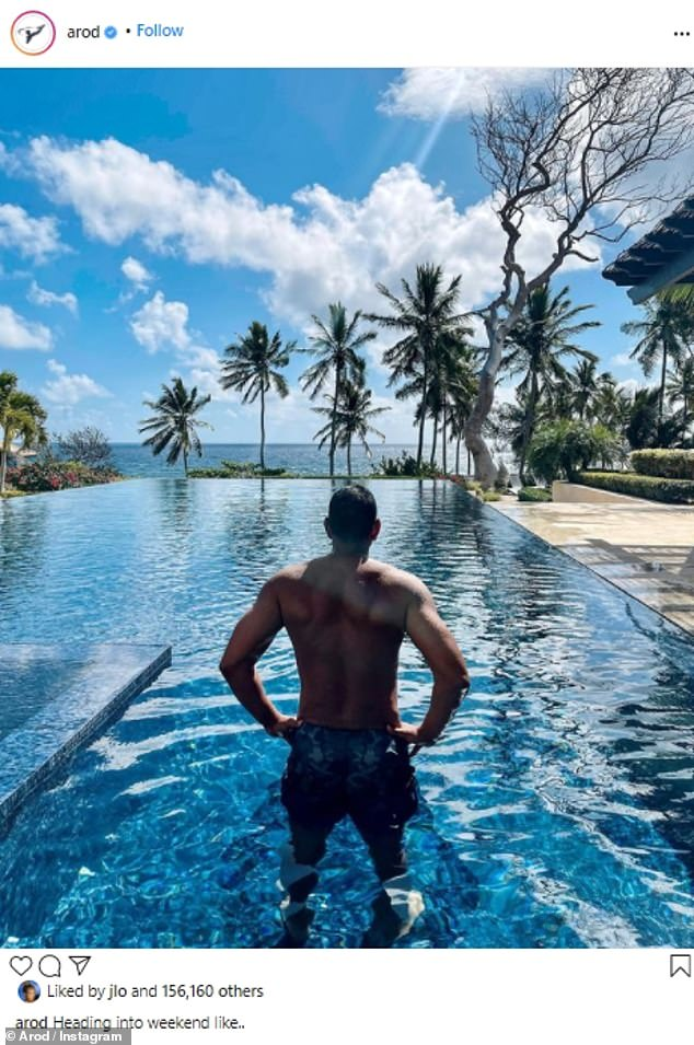 Muscular frame: The star's sexy photographs come amid reports he and his ex fiancé, 51, are 'figuring out how to be exes and still remain friends,' according to People