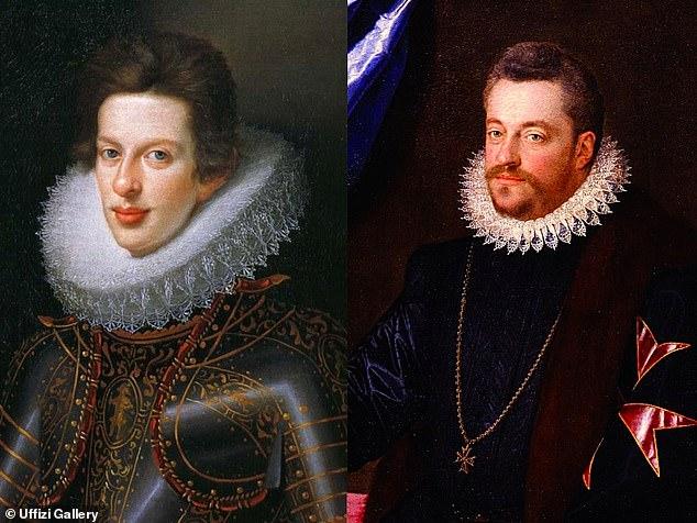 Cosimo II de 'Medici (izquierda) y su padre, Ferdinando I (derecha) eran miembros de la Casa de Medici, la familia de gobernantes más poderosa de la Italia del Renacimiento.  Se han descubierto frescos de ambos hombres en la Galería de los Uffizi