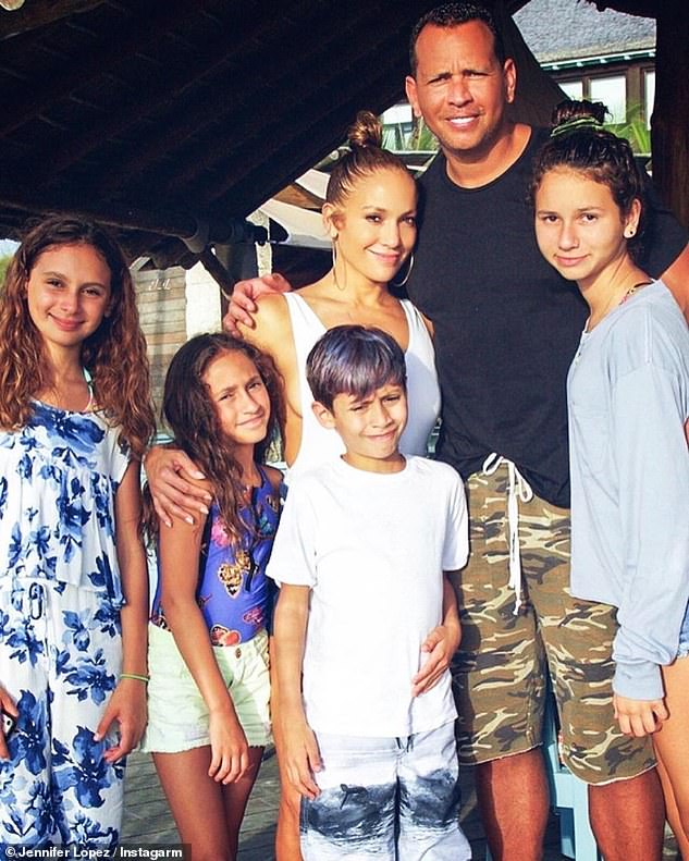 Blended family: Lopez and Rodriguez are both close to each other's respective teenage children (L-R Ella, 13, Emme and Max, 13, and Natasha, 16)