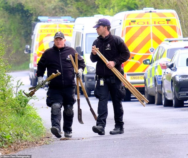 Police officers inAylesham, Kent, begin a murder investigation today following the death of Mrs James