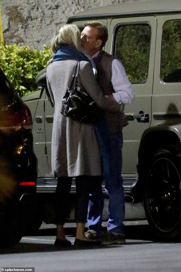 Lovers in LA: The 56-year-old supermodel looked enamored with her director beau as they kissed following dinner at the popular eatery on Sunset Boulevard just days after making their new romance official at the Oscars