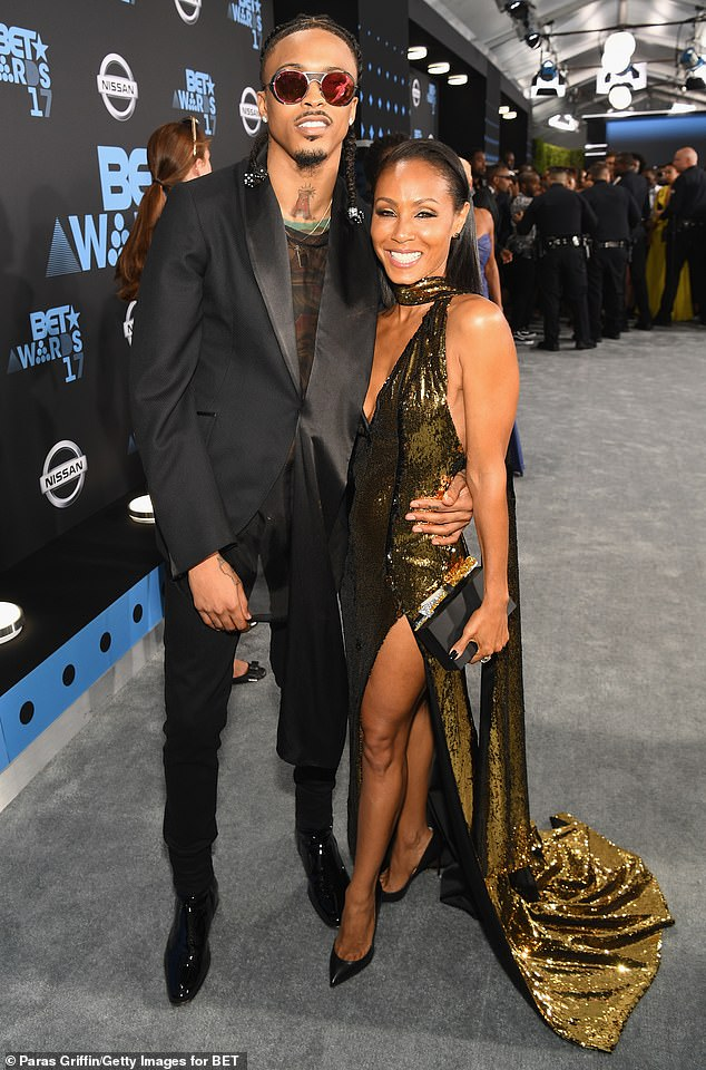 'Entanglement': If Jada seemed more understanding it might have had something to do with her 2016 affair with then 23-year-old singer August Alsina (L, pictured in 2017)