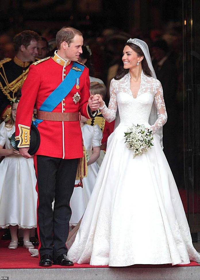 Fairytale: A decade on from Prince William and Kate Middleton's big day on April 29th 2011, the couple look back on a day that wouldn't have been allowed to happen under current restrictions. Kate, then 29,wore a £250,000 gown by Alexander McQueen