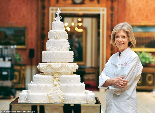 Eight tiers of temptation: Royal baker Fiona Cairns decorated the royal wedding cake with individual