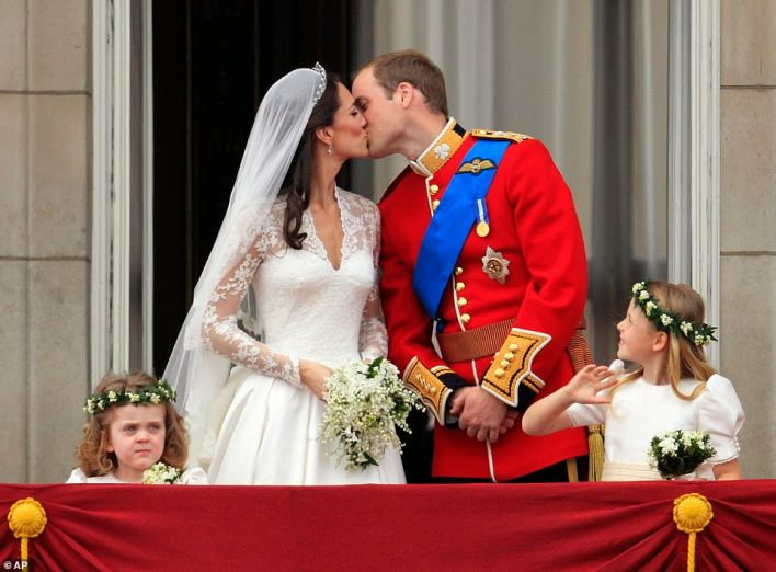 Magic moments: The first kiss on the balcony.Legend has it that, when she was at school, young Kate Middleton had a picture of Prince William on her dormitory wall