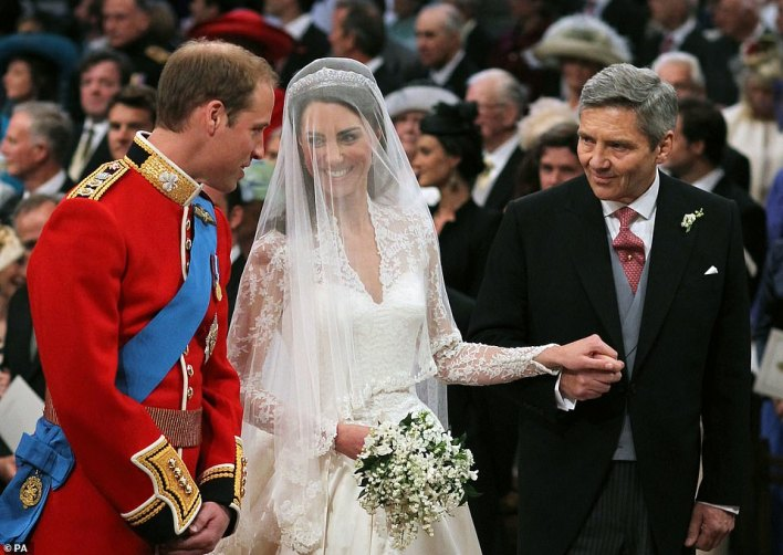 Over to you William!Michael Middleton pictured giving his daughter away at Westminster Abbey...as she went fromCatherine Middleton to future Queen Consort of 17 nations