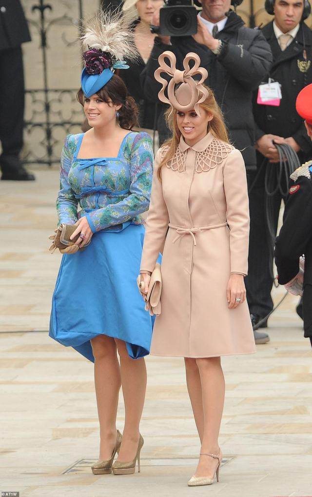 Fashion parade: Princesses Eugenie and Beatrice at the Royal Wedding in 2011