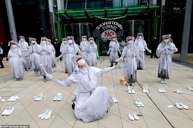 In August last year, Extinction Rebellion activists protested against the Silvertown Tunnel outside TfL's offices in Stratford