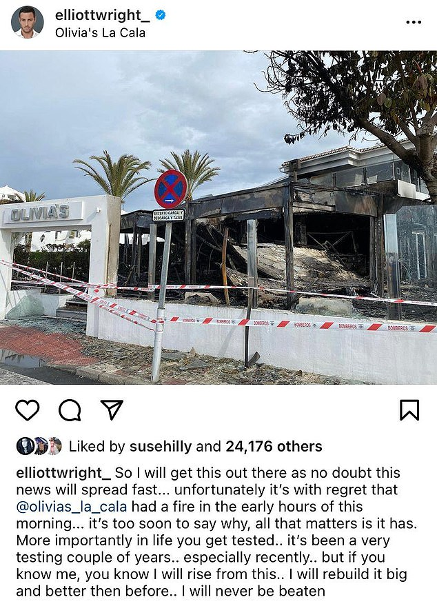 Confirmation: Elliott took to Instagram to confirm the news with the 'unbeaten' star vowing to rebuild the venue 'bigger and better' last month