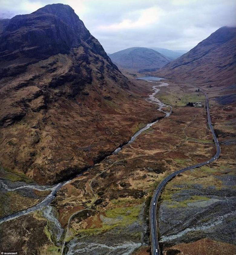 British car owners are spoiled for choice for scenic summer staycation drives, but there is one route that's more beautiful than them all, according to a poll - the A82 from Loch Lomond to Glencoe (pictured). This incredible image was taken by Instagrammer 'munroart'