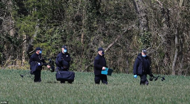 Four specialists with metal detectors and scanning equipment arrived in the field where Julia was found dead