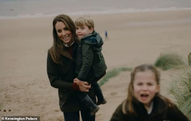 The Cambridges showed they can embrace both high-end and high street fashion in their new video montage to mark the Duke and Duchess' 10th wedding anniversary. Pictured, Kate and Prince Louis