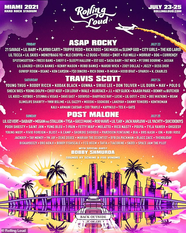 Florida bound: The Get Up rapper is next scheduled to perform July 25 at the sold-out music festival Rolling Loud in Miami