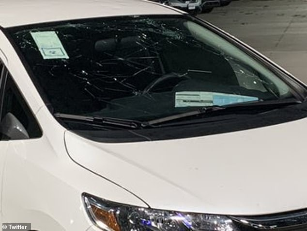 The hailstones shattered windshields (pictured in Oklahoma) and dented exteriors