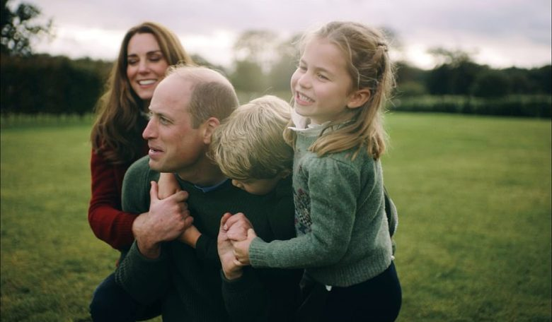 The Duke and Duchess of Cambridge playing around with their children in the released video on their social media channels