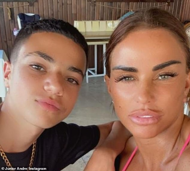 Third time:It marks Junior's third brush with the virus. In March 2020, Junior revealed that he was showing symptoms of coronavirus (pictured with mum Katie, 42, last year)