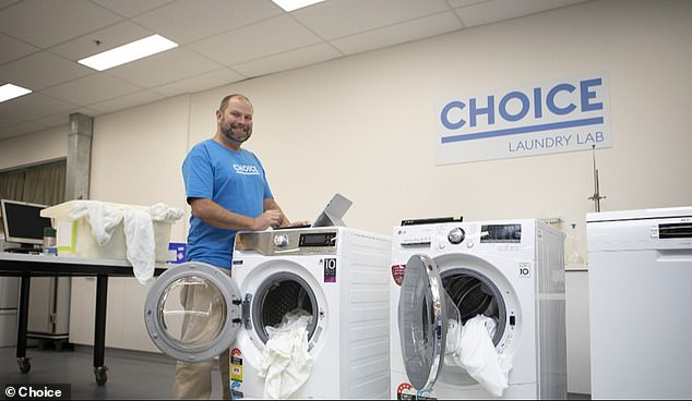 CHOICE's whitegoods expert Ashley Iredale (pictured) said you still get the same results if you wash your clothes with just half or even less of the recommended dose of laundry detergent