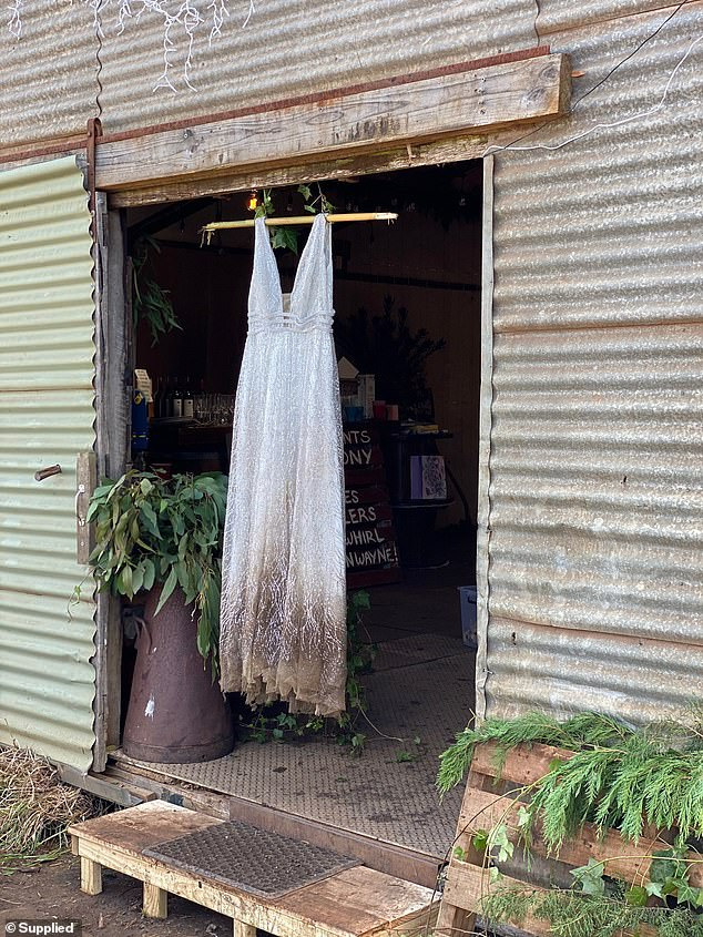 Jessa is hoping the dry cleaners will return her wedding dress to the original condition, but isn't too concerned (dress pictured after the birth)