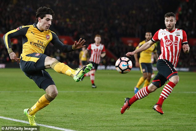McQueen in action against Arsenal in the FA Cup in 2017 - his last appearance came year later