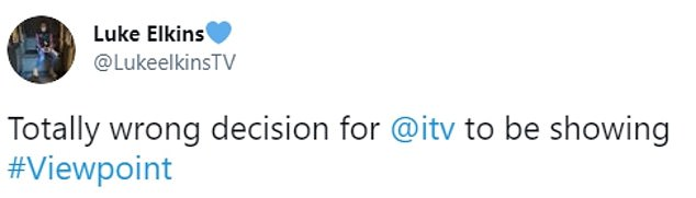 Others also vented their anger against ITV on the social network. MailOnline has contacted the channel for comment
