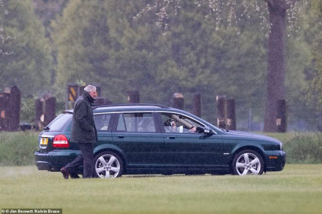 Earlier today the 95-year-old could be seen driving herself out into the grounds at Windsor to inspect the animals and carriages