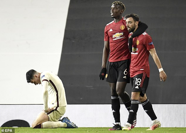 Carragher also believes Paul Pogba (middle) and Bruno Fernandes (right) are key for United