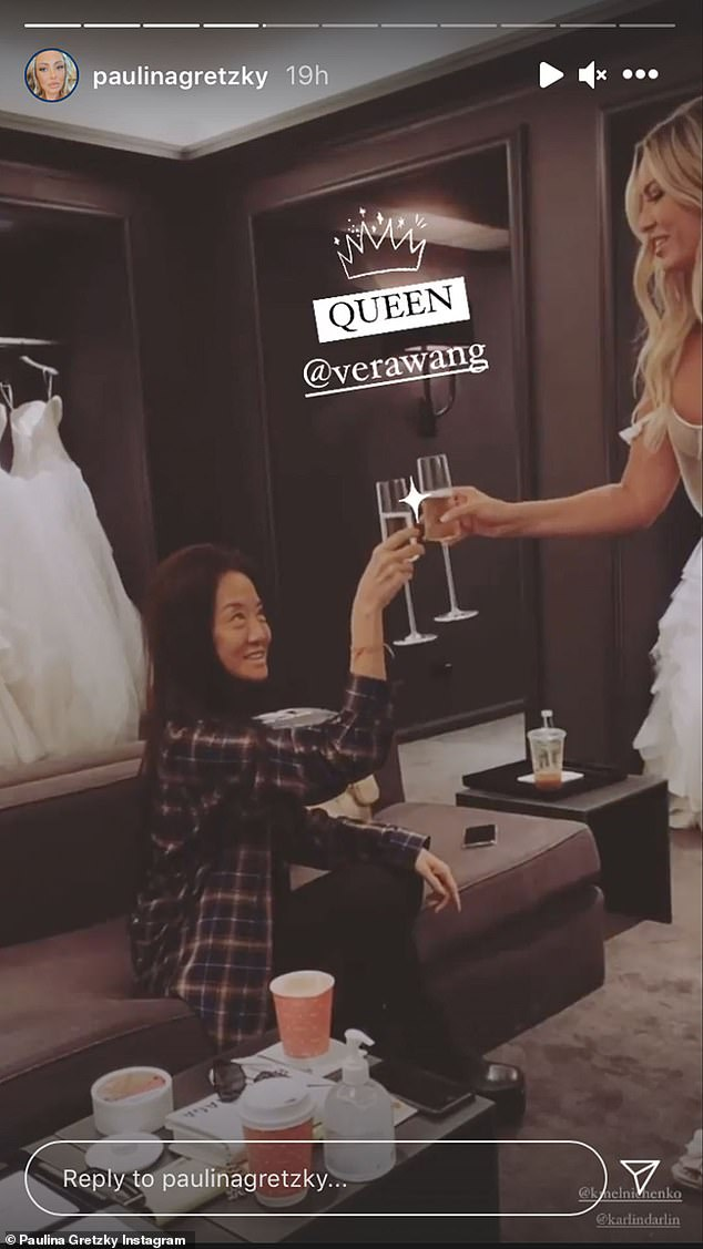 Cheers! In addition to enjoying some bubbly, the daughter of hockey great Wayne Gretzky shared snaps of herself browsing through options in a silk white robe