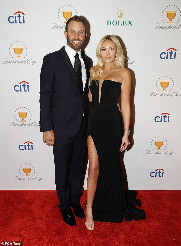 Longtime love: Gretzky, 32, and professional golfer Dustin Johnson, 36, have been engaged since 2013 and share two sons River Jones, three, and Tatum, five